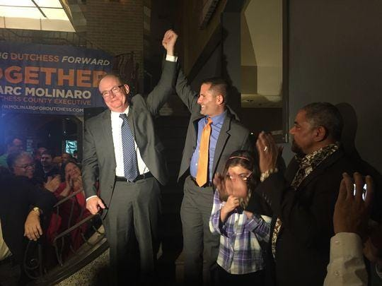 City of Poughkeepsie Mayor-elect Rob Rolison, at left, and Dutchess County Executive Marc Molinaro celebrate their victories.