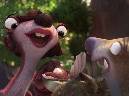 """Francine (voiced by Melissa Rauch) is surprising by the sudden proposal of Sid (John Leguizamo) in """"Ice Age: Collision Course."""" Francine (voiced by Melissa Rauch) is surprising by the sudden proposal of Sid (John Leguizamo) in """"Ice Age: Collision Course."""" (Photo: Blue Sky Studios)"""