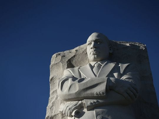 The statue of Martin Luther King Jr. is seen at Martin Luther King Jr. Memorial January 18, 2016, in Washington, D.C.