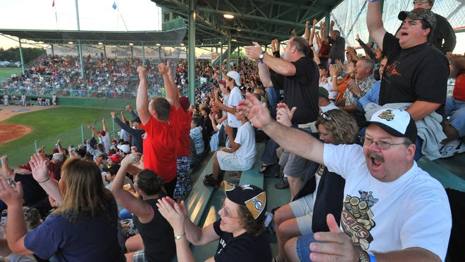 Fans cheer on the Wisconsin Rapids Rafters at Witter Field.