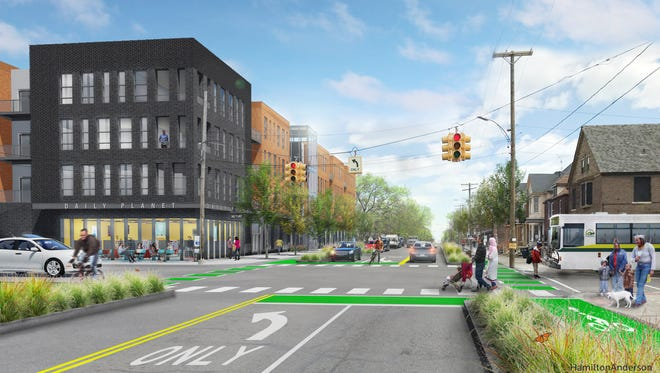 An artist rendering of planned development at the northeast corner of the Van Dyke and Kercheval in Detroit.
