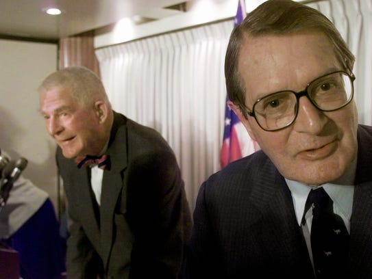 Former Watergate prosecutor Archibald Cox, left, and