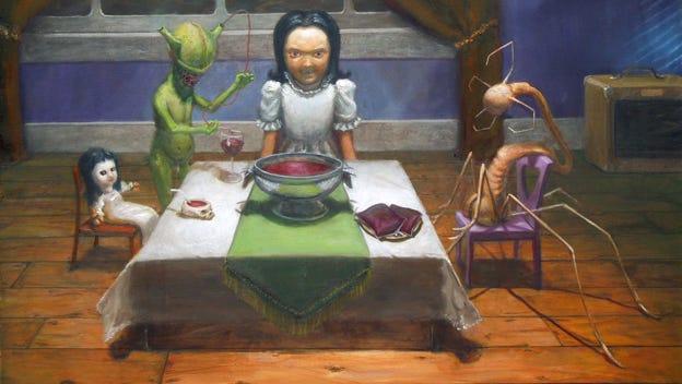 """Tea Party"" by Lee Dana Dale is included in ""The Art of Horror"" exhibit in Burlington."
