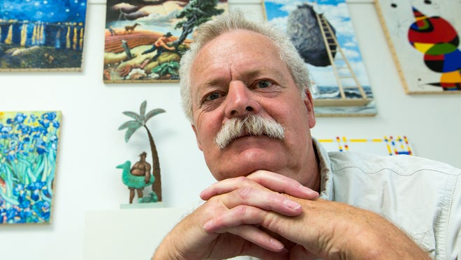 "Artist Stephen Hansen, here in his Las Cruces studio, says his ""Great Moments in Art"" series has increased his appreciation for the techniques of other artists."