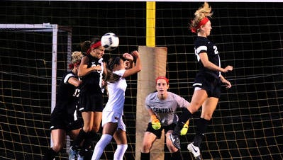 Missed goal attempt by Watchung Hills against Hunterdon Central on Sept. 15, 2016.