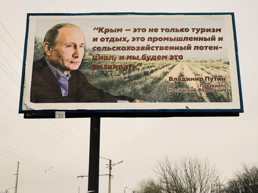 A billboard in Crimea featuring words by Russian President
