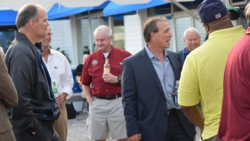 Florida State coach Jimbo Fisher reflected on a variety of topics during visit nto Pensacola Yacht Club and tour stop on Semionole Boosters Spring Coaches Tour.