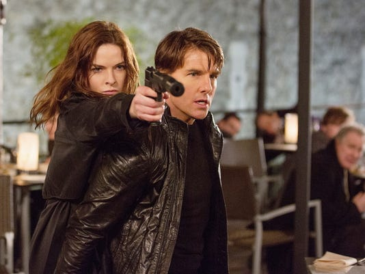 "Tom Cruise, right, and Rebecca Ferguson in ""Mission: Impossible — Rogue Nation,"" in theaters July 31."