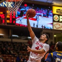 Southern Utah's Trey Kennedy goes up for a layup during the game against Northern Colorado, Thursday, Jan. 21, 2016.
