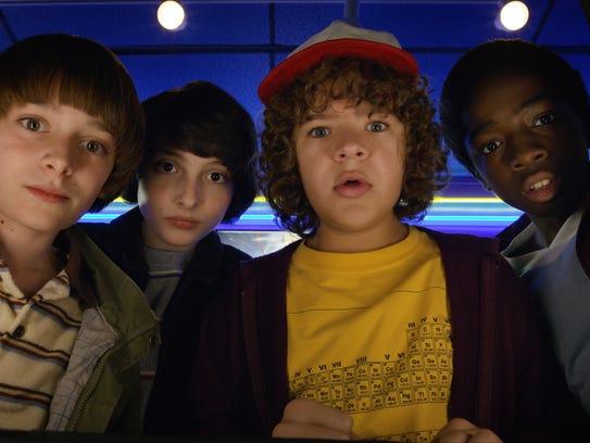 Noah Schnapp, from left, Finn Wolfhard, Gaten Matarazzo
