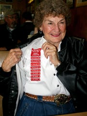 Harriet Livingston, an award-winning square dancer, swung by Holding Court at the Court Street Dairy Lunch in downtown Salem on Tuesday.