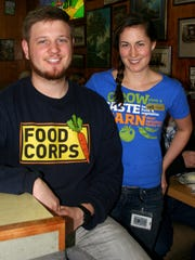 Aaron Poplack and Maggie Harkins, FoodCorps Service Members who work with the Salem-Keizer Education Foundation, were at Holding Court to recruit for their replacements.