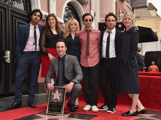 """The Big Bang Theory"" cast members showed their support for colleague Jim Parsons, front, at his star ceremony on the Hollywood Walk of Fame. Joining Parsons were Kunal Nayyar, left, Mayim Bialik, Melissa Rauch, Simon Helberg, Johnny Galecki and Kaley Cuoco."