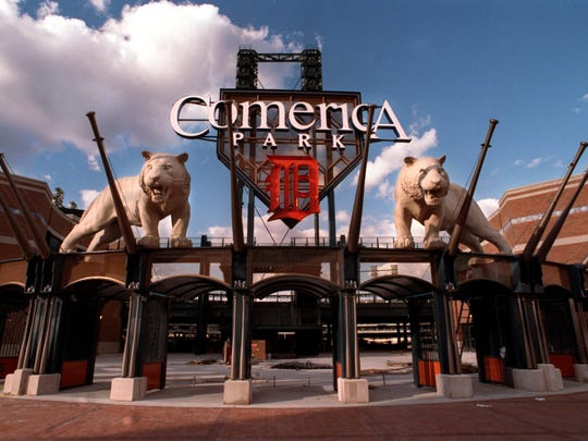The main entrance to Comerica Park.