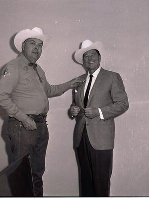 Palm Springs Mounted Police Captain Bob Cordes and Governor Ronald Reagan.