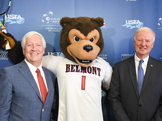 The United States Tennis Association (USTA) announced Thursday that Belmont has been selected to serve as host to the 2018 Davis Cup World Group Quarterfinal at Curb Event Center. Pictured, from left, is Nashville Sports Council president and CEO Scott Ramsey, Belmont president Bob Fisher, Belmont mascot Bruiser the Bruin, J. Wayne Richmond, managing director, major events for the USTA, and Belmont basketball coach Rick Byrd.