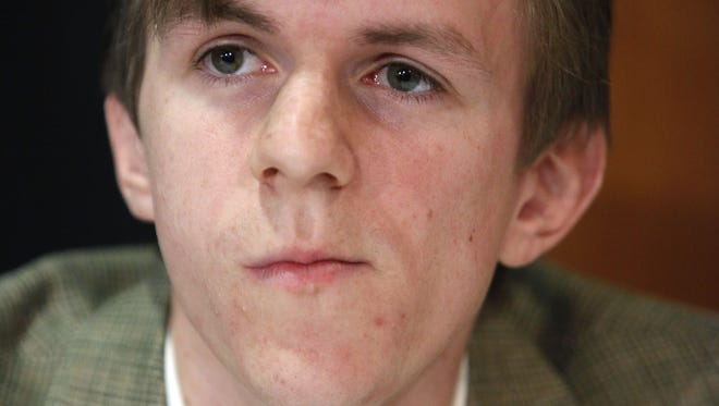 James O'Keefe attends a news conference at the National Press Club in Washington.