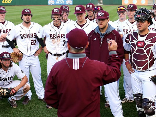 Missouri State coach Keith Guttin, talking to his team after a late-season game, has won more than 1,100 games in his career and will be participating in his second Super Regional this weekend.
