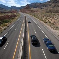 Traffic flows along Interstate 15 through the Virgin River Gorge.