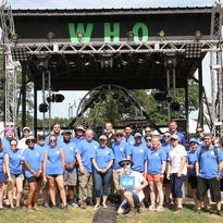 This group of students, faculty and staff from MTSU's College of Media and Entertainment are working at the Who Stage at the 2016 Bonnaroo Music and Arts Festival in Manchester, Tenn.