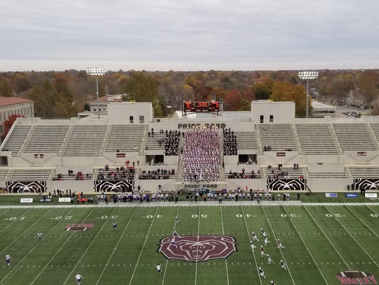 The Missouri State student section at opening kickoff