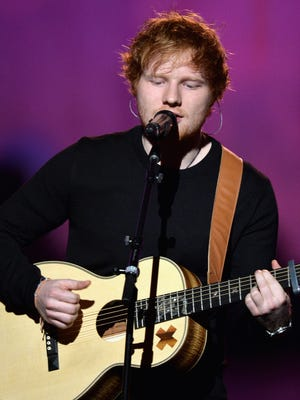 """Ed Sheeran, seen here performing during """"The Night That Changed America: A GRAMMY Salute To The Beatles"""" at the Los Angeles Convention Center on Jan. 27, 2014, will begin his first North American arena tour Aug. 22 in Seattle, Wash."""