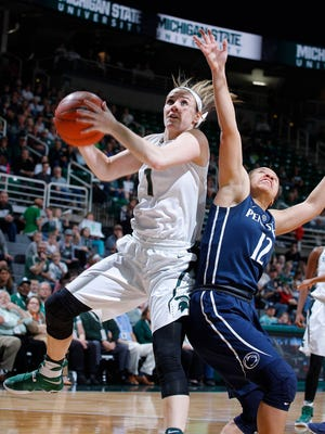 Michigan State's Tori Jankoska, left, drives to the basket against Penn State's Lindsey Spann Wednesday, Feb. 22, 2017, in East Lansing, Mich. Michigan State won 73-64.