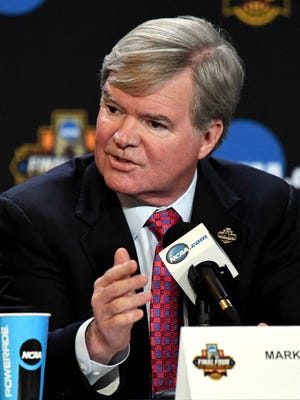 NCAA president Mark Emmert speaks to the media during a press conference at University of Phoenix Stadium.