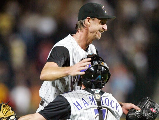 Arizona Diamondbacks pitcher Randy Johnson celebrates