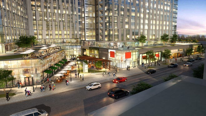 Architectural renderings of the proposed mixed-use complex at the site of the current Westchester Pavilion in downtown White Plains.