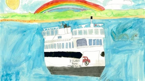 Vineyarder Anderson Cramer's award-winning submission in the Steamship Authority's 2019 Art Contest, open to kids from Barnstable, Fairhaven, Falmouth, Martha's Vineyard, Nantucket, and New Bedford.