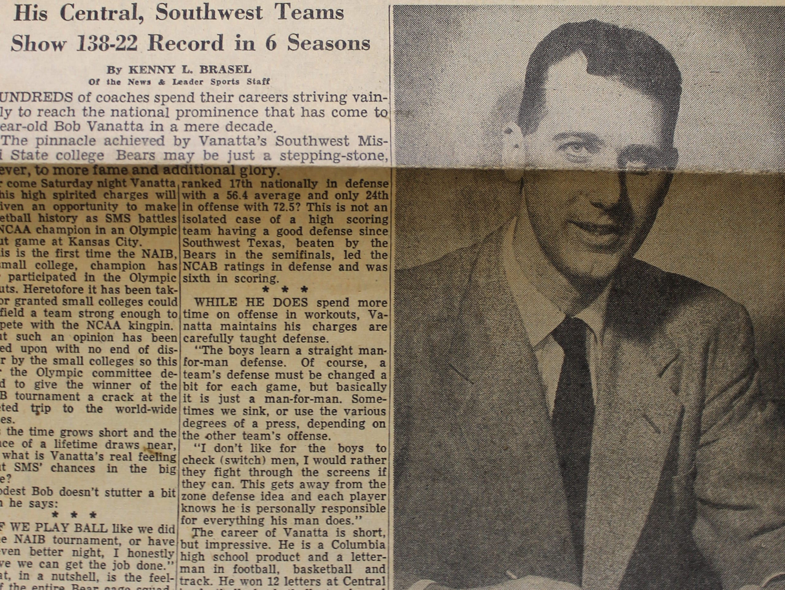 A story from the March 23, 1952 edition of the Springfield News & Leader profiles coach Bob Vanatta and his NAIB national championship team's preparation for a postseason game against 1952 NCAA champion Kansas as part of the U.S. trials for the Olympics in Helsinki, Finland.