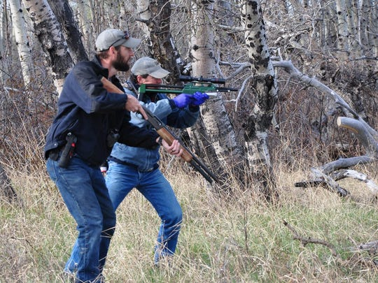 Mike Madel, a grizzly bear management specialist with Montana Fish, Wildlife and Parks, prepares to shoot a tranquilizing dart at a grizzly bear at Pine Butte Swamp in 2014.