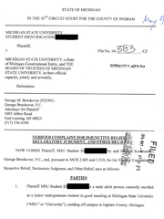 The first page of a lawsuit filed by a Michigan State