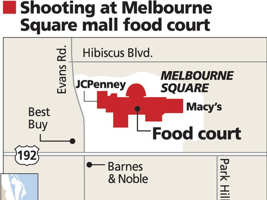 Map shows location of the food court at the Melbourne