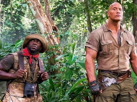 "Game on: Kevin Hart and Dwayne 'The Rock' Johnson in ""Jumanji: Welcome to the Jungle."""