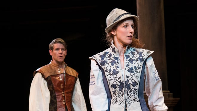 """Jeb Burris (left) as Orlando and Cassandra Bissell as Rosalind in the Utah Shakespeare Festival's 2017 production of """"As You Like It."""""""
