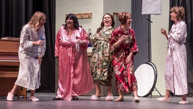 "Lynn Hoseney (Cora), Betty Lang (Jessie), Amy Goble (Celia), Laura Mandernack (Chris), and Kathi Aron (Annie) perform the Hartland Players' rendition of ""Calendar Girls"""