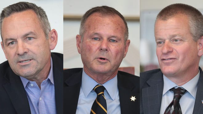 Riverside sheriff candidate Chad Bianco, Riverside County sheriff, Stan Sniff and Riverside sheriff candidate Dave Brown photographed on April 25, 2018 at the Desert Sun.