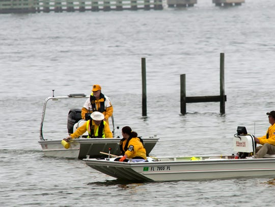 Military and civilian personnel scour the waters off