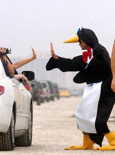A penguin and a banana celebrated spring break on March 11, 2007.