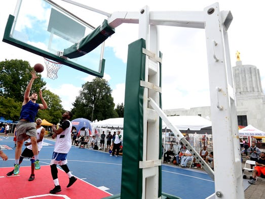 The men's open championship game for the Hoopla basketball