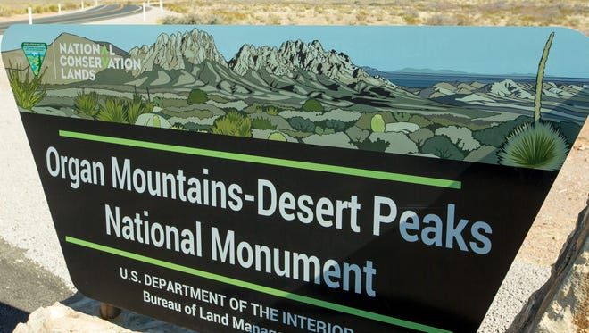 Pictured is a Organ Mountain-Desert Peaks National Monument sign posted along Dripping Springs Road on Tuesday, January 31, 2017. U.S. Rep. Steve Pearce has requested newly inaugurated President Donald Trump to roll back the size of the monument.