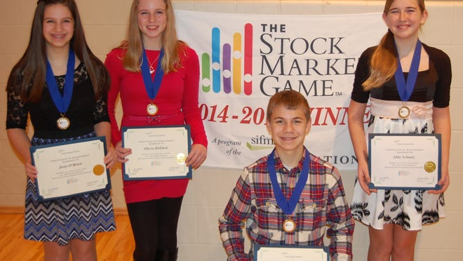 St. Peter's students win stock market challenge: As part of a statewide competition, junior high students across Wisconsin were given $100,000 to invest over a period of 10 weeks. The team with the highest return on their investments would be named champion. The winners of the Western Wisconsin Region included Fond du Lac's St. Peter's Lutheran School students, from left: Josie O'Brien, Allyssa Birkholz, Brice Guse and Abigail Schmitz.