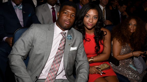 Florida State quarterback Jameis Winston (L) and his girlfriend Breion Allen during the 2014 ESPYS at Nokia Theatre L.A. Live.