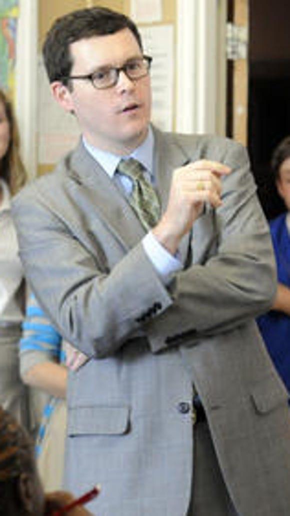 State Rep. Joe Hubbard, D-Montgomery, tours BTW Magnet High School on Tuesday, Oct. 22, 2013.
