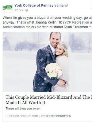 York College's Facebook post to two grads who got married in a blizzard.