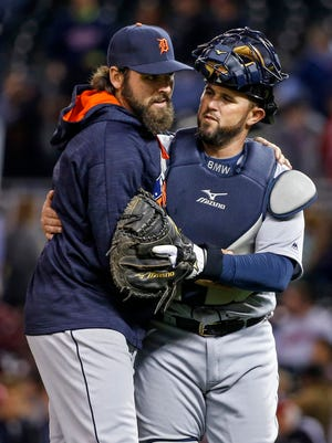 Detroit Tigers starting pitcher and former Binghamton Met Michael Fulmer celebrates his win with catcher Bobby Wilson after defeating the Minnesota Twins 9-2 on April 29, 2016, at Target Field in Minneapolis, Minn.