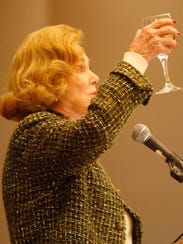 Barbara Sinatra toasts her late husband, Frank Sinatra,