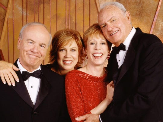 Tim Conway, Vicki Lawrence, Carol Burnett, and Harvey